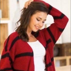 ⭐️⭐️⭐️Stylish striped long sweater.⭐️⭐️⭐️ Red.